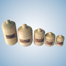 Miniature Wood Canister Set For Dollhouse Kitchen - Dollhouse Accessories - Miniature Display