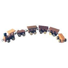 Miniature Wood Toy Train With Brass Wheels - Dollhouse Toys - Miniature Toys