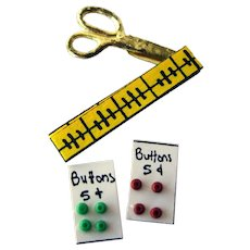 Miniature Sewing Accessories With Carded Buttons - Dollhouse Sewing Room - Miniature Sewing Display