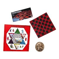 Miniature Checkerboard and Chinese Checkers Games - Dollhouse Miniature Games