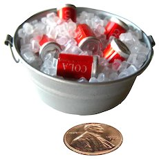 Miniature Iced Bucket With Soda - Dollhouse Miniatures - Fairy Garden