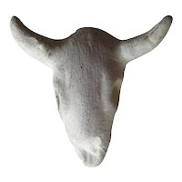 Miniature Desert Plaster Cow Skull - Dollhouse Decor - Miniature Old West Cattle Skull