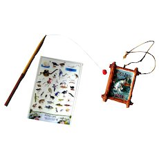 Miniature Fishing Set For Dollhouse or Diorama - Mini Fishing Pole - Dolls House Decor