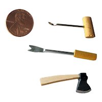 Miniature Wooden Hand Tool Set - Dollhouse Miniature Tools - Fairy Garden Tools