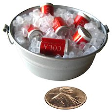 Miniature Bucket With Ice and Soda - Miniature Picnic - Dollhouse Miniatures - Fairy Garden Food