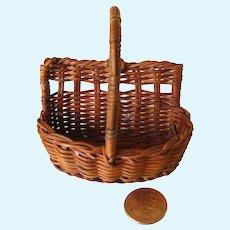 Miniature Wicker Basket Unusual Shape, Flat Back Dollhouse Basket