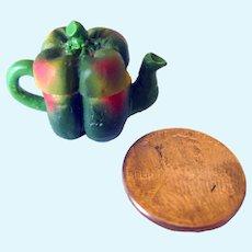 Miniature Pepper Teapot, Dollhouse Miniature Tea Pot, Fairy Garden Tea-Time