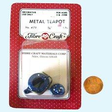 Enamelware Miniature Teapot NOS in Original Packaging, Dollhouse Tea Pot