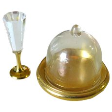 Miniature Dome and Crystal Champagne Flute, Dollhouse Kitchen, Miniature Wedding