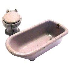 Miniature Bathroom Toilet & Tub by KILGORE - Dollhouse Bathroom - Miniature Furniture