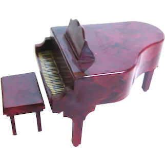 Miniature Dollhouse Grand Piano and Bench - Doll House Decor - Miniature House
