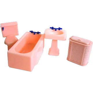 Renwal Pink Bathroom Set Miniature Dollhouse Furniture - Doll House - EXCELLENT Condition 1950s Doll Furniture