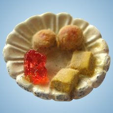Miniature Biscuit and Jelly Plate With Strawberry Jelly - 1:12 Scale Miniature - Dollhouse Food - Mini Food