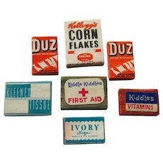 Miniature Box Assortment Food First Aid Cleaning Supplies Set of Seven - Dollhouse Miniatures