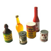 Dollhouse Food Bottles and Cans - Vintage Miniatures - Mini Food - Doll House Food