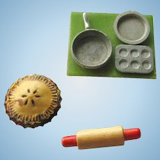 Miniature Baking Set With Rolling Pin Pie and Pans - Doll House Kitchen Accessories