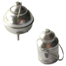Miniature Milk Can and Lidded Kettle - Dollhouse Farm Miniatures - Doll House Accessories