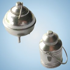 Miniature Milk Can and Lidded Kettle - Dollhouse Farm Miniatures - Doll House Accessories