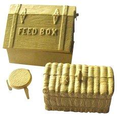 Miniature Farm Set Milking Stool Feed Box and Bale Of Hay - Dollhouse Miniatures - Vintage Dolls House