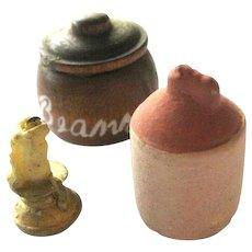 Bean Pot Jug and Candlestick Vintage Miniature Lot - Dollhouse Accessories - Dollhouse Miniatures
