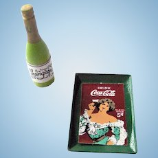 Dollhouse Coca-Cola Tray and Champagne Bottle Doll House Miniatures - Miniature Accessories