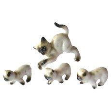 Miniature Cat Family - Dollhouse Animals - Cat and 3 Kittens - Miniature Animals