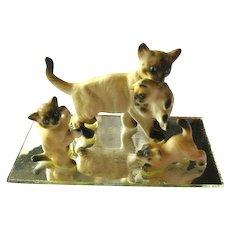 Miniature Cats on Mirror - Mommy Cat and Three Kittens - Dollhouse Miniatures - Miniature Animals
