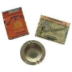 Miniature Smoking Set With Two Detailed Packs of Cigarettes and Metal Ashtray - Vintage Miniatures - Dollhouse Miniatures