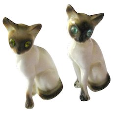 Pair of China Siamese Cats With Rhinestone Eyes Miniature Animals Cat Figurine Cat Lovers Gift