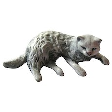 Lounging Cat Miniature Rawcliffe Pewter by P Davis Miniature Cat Miniature Figurine Dollhouse Miniature