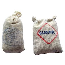 Miniature Flour and Sugar Sacks Dollhouse Accessories Miniature Food Miniature Grocery Store Accessory