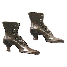 Victorian Style Brown Metal Miniature Boots Dollhouse Shoes Old Fashion Button Boots