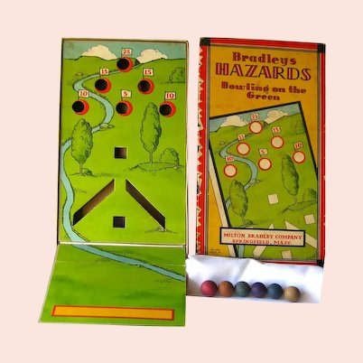 Collectible Game BRADLEYS HAZARDS Bowling on the Green 1930s Game VIntage Games Silver Age of Games RARE Vintage Game Golfing Game