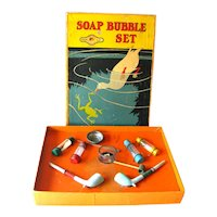 Soap Bubble Set Sold by JC Penny Mary Lu Playthings Clay Bubble Pipes ULTRA RARE Toy Vintage Childrens Toy Milton Bradley Soap Bubble Set