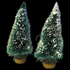 Vintage Flocked Bottle Brush Trees With Gold Base / Christmas Ornament / Collectible Ornament / Holiday Decoration / Holiday Home Decor