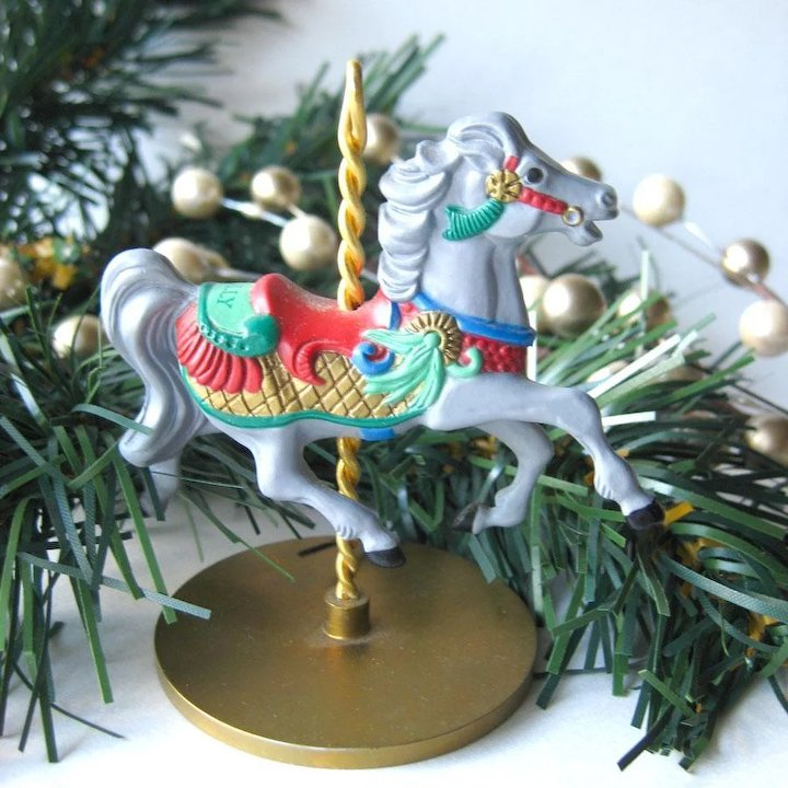 holly carousel horse hallmark keepsake ornament christmas ornament christmas tree vintage hallmark - Christmas Carousel Decoration