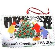 Hallmark Christmas Stamp Enameled Ornament / Christmas Tree / Vintage Hallmark
