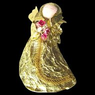 Gold Foil Christmas Angel Vintage Ornament