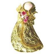 Gold Foil Christmas Angel Vintage Ornament
