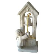 Goebel W Germany White Church Bell Ringer - Bisque Figurine SPO 48 - Angel Ringing Church Bell - Holiday Decor - Hummel Figurine