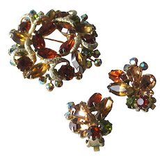 Weiss Pin and Earring Set - Amber Color Rhinestone Brooch and Earring Set - Signed Jewelry Set - Costume Jewelry Set