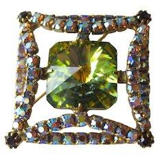 Green Rivoli and Rhinestone Pin / Vintage Brooch / Costume Jewelry / Rivoli Pin / Rhinestone Brooch