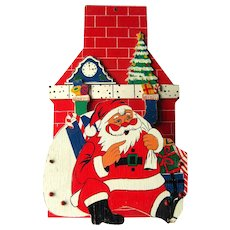 Holiday Card Holder Santa Coming Down The Chimney Vintage Christmas Decoration