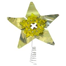 Silver and Gold Aluminum Christmas Tree Star - Vintage Tree Topper - 1950s Christmas Decoration