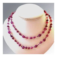 Amethyst Art Glass Beaded Strand Necklace
