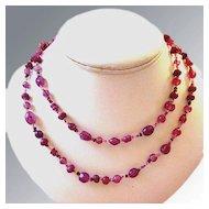 Amethyst Art Glass Beaded Strand Necklace