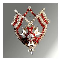 Heraldic Enamel & Rhinestone Pin