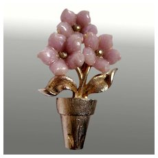 Pink Flower Pot Vintage Pin Signed Mamselle