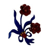 Early Plastic Red & Blue Floral Pin