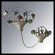 Vintage Chatelaine Double Basket Pin with Multi-Colored Rhinestones